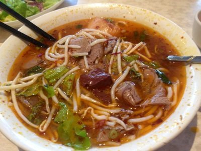 Spicy Pork Noodle Soup with Blood Jelly