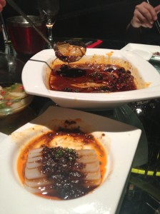 Tofu (front) and Blood Jelly dish (behind)