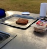 Public BBQ with sausages