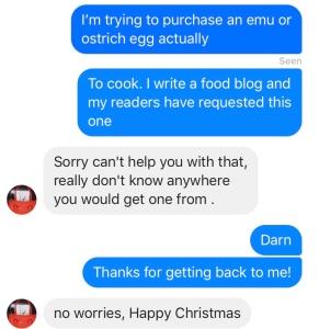 Asking an emu farm for eggs