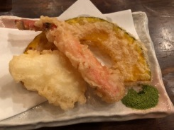 Tempura squid, crab and pumpkin